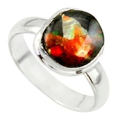 925 silver 3.91cts natural ammolite (canadian) solitaire ring size 5.5 r40249