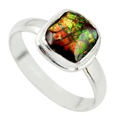 925 silver 4.34cts natural ammolite (canadian) solitaire ring size 10 r40244