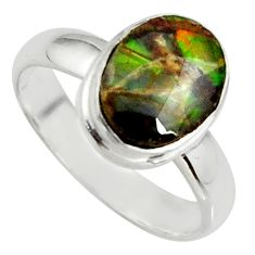 925 silver 3.62cts natural ammolite (canadian) solitaire ring size 6 r39419