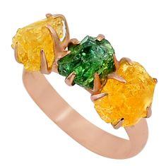 Handmade 8.49cts natural apatite (madagascar) 14k rose gold ring size 8 t34995