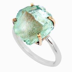 925 silver 6.56cts natural aqua aquamarine raw 14k gold ring size 6 t47116