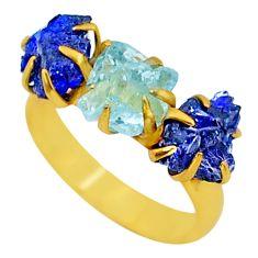 Handmade 8.90cts natural aqua aquamarine raw 14k gold ring size 8 t34973