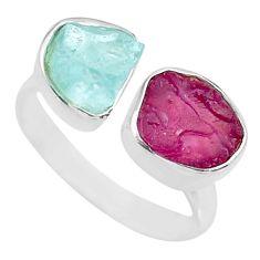 925 silver 9.56cts natural aqua aquamarine rough adjustable ring size 8 t36769