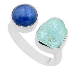 925 silver 10.78cts natural aqua aquamarine raw adjustable ring size 8 t38124