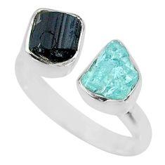 925 silver 9.18cts natural aqua aquamarine rough adjustable ring size 9 t36763