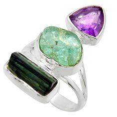 925 silver 14.26cts natural aqua aquamarine rough amethyst ring size 7 r29711