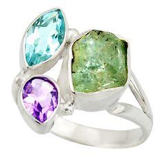 925 silver 10.12cts natural aqua aquamarine rough amethyst ring size 8 d47500
