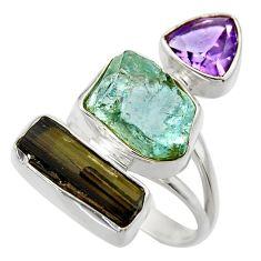 925 silver 16.46cts natural aqua aquamarine rough amethyst ring size 8 r29740