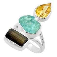 925 silver 13.24cts natural aqua aquamarine rough citrine ring size 6 r29735