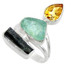 925 silver 15.47cts natural aqua aquamarine rough citrine ring size 9 r29738