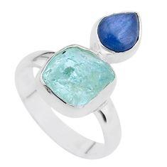 925 silver 8.44cts natural aqua aquamarine raw kyanite ring size 7 t48957