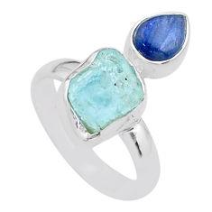 925 silver 7.62cts natural aqua aquamarine raw kyanite ring size 8 t48969