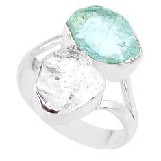 925 silver 9.88cts natural aqua aquamarine raw ring jewelry size 6.5 r91680