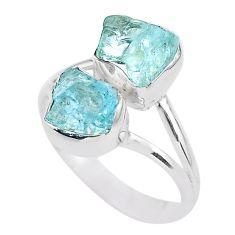 925 silver 7.96cts natural aqua aquamarine raw solitaire ring size 10 t25397