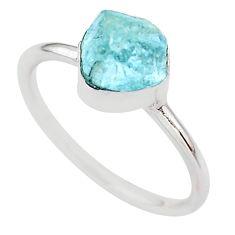 925 silver 4.71cts natural aqua aquamarine raw solitaire ring size 10 t25412