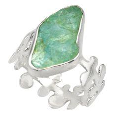 925 silver 7.62cts natural aqua aquamarine rough solitaire ring size 8 d47490