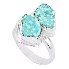 925 silver 8.55cts natural aqua aquamarine raw solitaire ring size 8 t25388