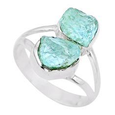 925 silver 6.97cts natural aqua aquamarine raw solitaire ring size 8 t25394