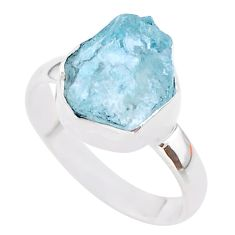 925 silver 5.84cts natural aqua aquamarine raw solitaire ring size 8 t25419