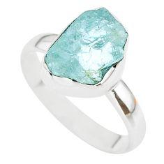 925 silver 5.54cts natural aqua aquamarine raw solitaire ring size 9 t25405