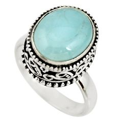 925 silver 5.30cts natural aqua aquamarine solitaire ring size 6.5 r26212