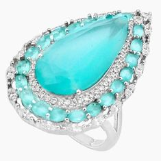 925 silver 12.71cts natural aqua chalcedony pear white topaz ring size 6 c19982