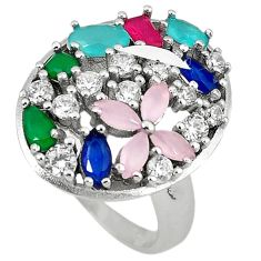 925 silver natural aqua chalcedony sapphire quartz topaz ring size 7.5 c22897