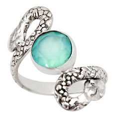 925 silver 3.43cts natural aqua chalcedony snake solitaire ring size 7 d46264