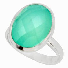 925 silver 10.69cts natural aqua chalcedony solitaire ring jewelry size 9 d39116