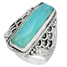 925 silver 6.55cts natural aqua chalcedony solitaire ring size 8.5 r21374