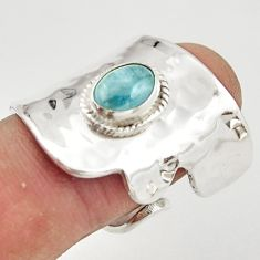 925 silver 2.10cts natural aquamarine adjustable solitaire ring size 7.5 r21277