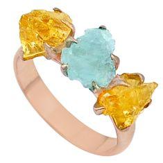 Handmade 8.42cts natural aquamarine raw 14k rose gold ring size 8 t34913