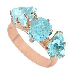 8.92cts natural aquamarine raw 14k rose gold ring size 8 t34936
