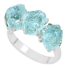 925 silver 10.23cts natural aquamarine raw 3 stone ring size 8 t7096
