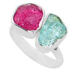925 silver 9.29cts natural aquamarine ruby raw adjustable ring size 7 t35204