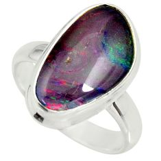925 silver 6.53cts natural australian opal triplet solitaire ring size 7 r34144