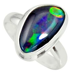 925 silver 6.10cts natural australian opal triplet solitaire ring size 7 r34160