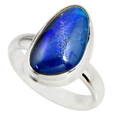 925 silver 5.38cts natural australian opal triplet solitaire ring size 7 r34274
