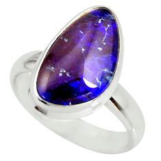 925 silver 5.58cts natural australian opal triplet solitaire ring size 7 r34284
