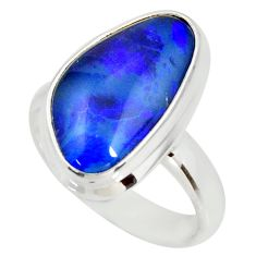 925 silver 6.58cts natural australian opal triplet solitaire ring size 7 r34295