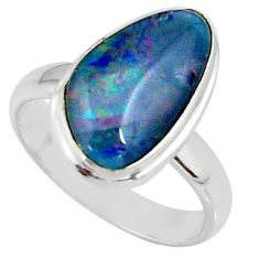 925 silver 5.08cts natural australian opal triplet solitaire ring size 7 r39320