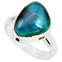925 silver 6.36cts natural australian opal triplet solitaire ring size 8 r34137
