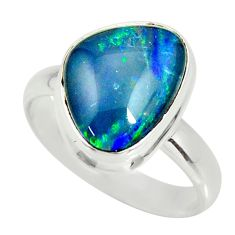 925 silver 6.54cts natural australian opal triplet solitaire ring size 9 r34150