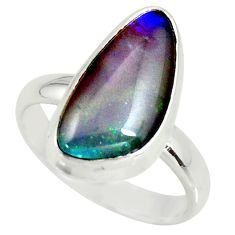 925 silver 6.59cts natural australian opal triplet solitaire ring size 9 r34156