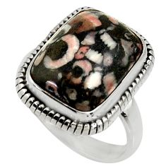 925 silver 11.02cts natural black crinoid fossil solitaire ring size 8 r28224