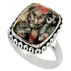 925 silver 10.81cts natural black crinoid fossil solitaire ring size 8 r28240