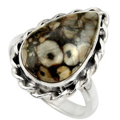 925 silver 11.66cts natural black crinoid fossil solitaire ring size 9 r28818