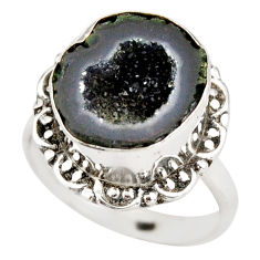 925 silver 6.31cts natural black geode druzy fancy solitaire ring size 8 r21384