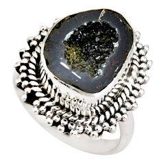 925 silver 6.48cts natural black geode druzy solitaire ring size 6.5 r21389