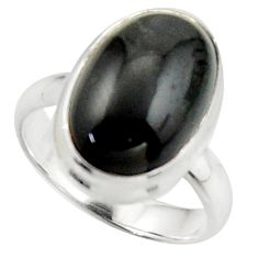 925 silver 8.25cts natural black obsidian eye oval solitaire ring size 7 d46525